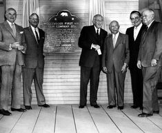 (1956)* - View of celebrities standing on the porch of 'The Old Barn' during the California Historical Landmark plaque dedication. From left to right are: Samuel Goldwyn; Jesse Lasky; Cecil B. DeMille; Adolph Zukor; Leo Carrillo and Y. Frank Freeman.