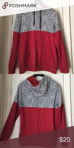 SOLD ON Ⓜ️!!!! Red, black, and white leopard print hoodie. So cute and in great condition. 💥PRICE IS FIRM ON ALL MARKDOWNS! Tops Sweatshirts & Hoodies