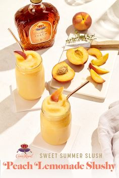 Summertime has us feeling fine. Keep your cool with a Peach Lemonade Slushy.  Blend 3 fresh peaches, 3 oz Crown Royal Peach, one (1) 12 oz frozen lemonade concentrate, and 24 oz water in a blender till smooth. Serves 2.  Liquor Drinks, Cocktail Drinks, Alcoholic Drinks, Cognac Cocktails, Frozen Cocktails, Summer Drinks, Fun Drinks, Mixed Drinks, Beverages