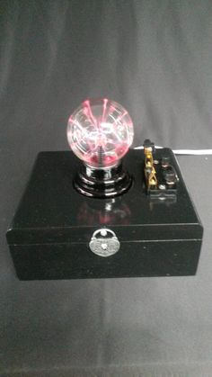 OOAK Steampunk Plazma Bulb Light on Wooden Cigar Box, Knife Blade Switch, Repurposed, Recycled, Industrial