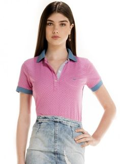 camisa polo andressa poa rosa look frente