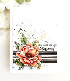 Guest Artist: Erum Tasneem with Faux Dimension Card Erum Tasneem: Altenew Beautiful Day, Focus on You, and Forever and Always (sentiment) stamp sets; Altenew watercolors (background shadows and splashes); Altenew Cards, Stampin Up Cards, Card Making Inspiration, Making Ideas, Altenew Beautiful Day Cards, Cool Cards, Diy Cards, Penny Black, Jennifer Mcguire Ink