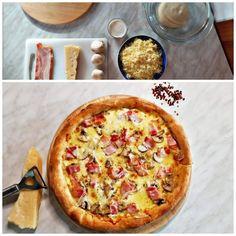 Βαρέθηκες την πίτσα με σάλτσα ντομάτας; Ο PizzaChefArgy μάς δείχνει πώς να φτιάξουμε πεντανόστιμη πίτσα καρμπονάρα με τη μέθοδο Poolish. Pizza Carbonara, Hawaiian Pizza, Pepperoni, Vegetable Pizza, Bread, Vegetables, Recipes, Food, Brot