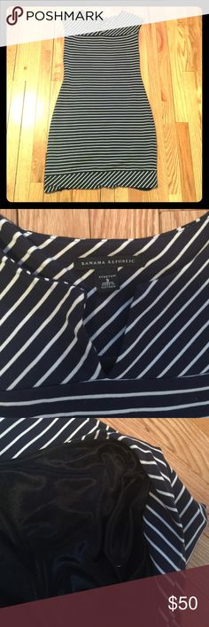 Banana Republic Nautical Dress Blue and white horizontal stripped bodycon dress goes from work to play. Shell 74% rayon, 23% nylon, 3% spandex. Lining 100% polyester. Banana Republic Dresses Mini