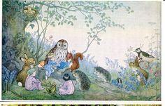 Bedtime Story by Molly Brett Vintage Postcard, PK 233 Vintage Postcard, animals fantasy by sharonfostervintage on Etsy