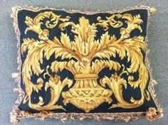 "Image of Needlepoint Pillow with Tassels Gold/Black 21x26""  http://shop.linobella.com/product/needlepoint-pillow-with-tassels-gold-black-21x26"