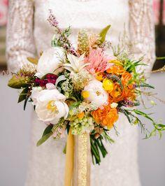 Textural + colorful bouquet