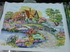 """Cross Stitch title: Charming Cottage 8 cts; white Aida cloth sequins and beads added 19 1/2"""" x 26""""  #CrossStitch #Craft #forsale"""