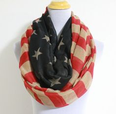 Vintage American Flag Infinity Scarf Cute star by dailyaccessoriez, $19.99