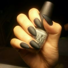 Almond shaped nails. Matte nails. Pointy nails. Matte black nails #CrytolNailBar