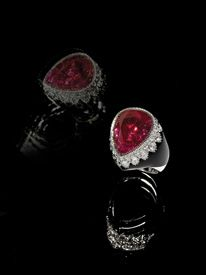 Fulvio Maria Scavia (1949)  Shakira ring  2009  Milan, Italy  Shakira ring: an extraordinary and extremely rare Burma ruby, not heated, of over 21 carats, drop cut diamonds and brilliant cut diamonds for this precious ring