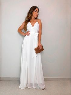 Vestido Longo Heloisa Off White Sexy Dresses, Modest Dresses, Fall Dresses, Cute Dresses, Dress Outfits, Fashion Dresses, Prom Dresses, Summer Dresses, Civil Wedding Dresses