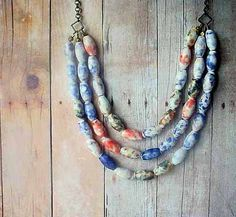 Delft Necklace Blue and White and Coral Red Speckled Porcelain Beads Triple Strand Statement Necklace Spring Fashion Gift Box Gift for Mom. $38.00, via Etsy.