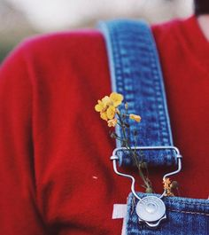 May your overalls be filled with flowers and layered with red sweaters. Photo by Zoë Ellen Lidwell, Curated by Meredith Egan