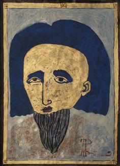 """Máscara de oro, 2012 – From """"Cualquier pedacito de oro"""" Series, Mixed on Cardboard, 53 x 38 cm"""