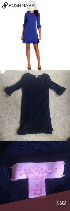 SALE! Lilly Pulitzer Ruffle Sweater Dress Like Brand New! It's so cute on! Retail Price$198 Lilly Pulitzer Dresses