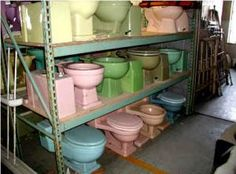 Architectural Salvage vintage colored toilets - Rainbow hued toilets for sale at Caravati's Inc. Ten no to buying. Colored Toilets, Toilets For Sale, New Toilet, Three Floor, Architectural Salvage, Bathroom Interior Design, Vintage Colors, China Cabinet, Flooring