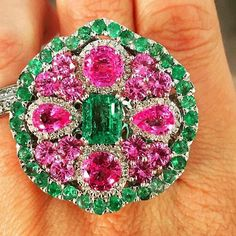 Buddha Mama emeralds, pink sapphires and diamonds Ring. #gold #diamonds #gem #gemstone #gemslover