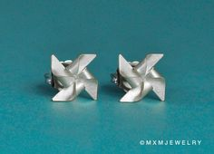 Tiny Pinwheel windmill Earrings 030 inches by mxmjewelry on Etsy, $32.00