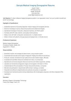 sample medical imaging sonographer resumeresume samples - Ultrasound Resume