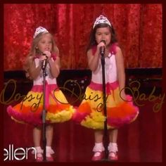 Oopsy Daisy Baby Rasp/Yel/Org Petite Pettidress w/ Crown Bling worn by Sophia Grace and Rosie on The Ellen Show