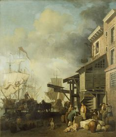 """""""A Thames Wharf"""" by Samuel Scott (1757) at the Victoria and Albert Museum, London - From the curators' comments: """"London began in ancient times as a small settlement next to a crossing point of the Thames, and until the mid-19th century the river was still the main route through which all the trading wealth flowed into the City. The docks were literally the gateway to the world, filled with a huge mass of shipping."""""""