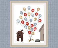 ABC Alphabet nursery art. Puppy dog nursery print. Balloon alphabet poster for kids. Children decor, children art, 11x14 print by WallFry