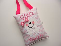 Personalized tooth fairy pillow door hanger with pocket in choice of colors