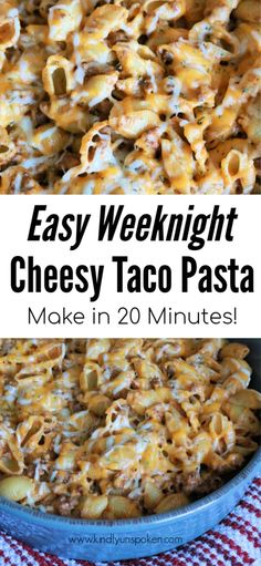 Easy Weeknight Cheesy Taco Pasta Looking for a quick pasta recipe the whole family will love? Try my Easy Weeknight Cheesy Taco Pasta recipe that features creamy taco pasta with beef, cheese, and taco seasoning. Taco Pasta Recipes, Casserole Recipes, Crockpot Recipes, Cooking Recipes, Delicious Pasta Recipes, Taco Pasta Bake, Healthy Recipes, Supper Recipes, Easy Dinner Recipes