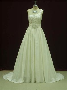 Elegant One Shoulder A-line With Nice Sash Pleated Taffeta Wedding Dress WD1355 www.tidedresses.co.uk $252.0000