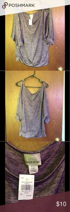 Cute Purple Silver Rings Open Shoulder Tunic Cute Purple Silver Rings Open Shoulder Top. 94% polyester, 6% Spandex. Flex light feel awesome look for spring. Wear with jeans or even shorts. CAREN SPORT Tops Tunics