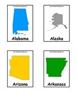 US States Flash Cards - Color - Information: States Flash Cards. Black and White. Includes all 50 states flashcards plus Puerto Rico and United States of America flashcards.