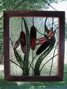 Cattails and Dragonfly Stained Glass Panel.