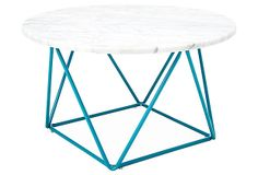 Cleo Marble Coffee Table, Turquoise $319