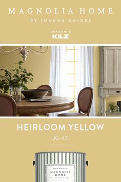 magnolia homes joanna gaines You dont have to stick to neutral color palettes to create a timeless design style in your home. Heirloom Yellow, from the Magnolia Home by Joan Yellow Paint Colors, Wall Paint Colors, Paint Colors For Living Room, Paint Colors For Home, My Living Room, Room Colors, Yellow Kitchen Paint, Kitchen Paint Colors, Exterior Color Palette