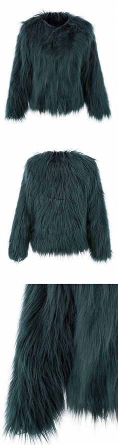 CHICLOOKCLOSET | Green Collarless Faux Fur Coat. Very warm faux fur.