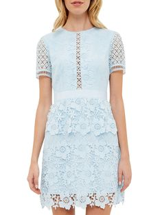 BuyTed Baker Dixa Layered Lace Skater Dress, Baby Blue, 0 Online at johnlewis.com