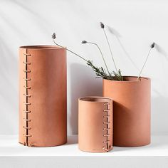 Peter Maxwell of LA's Made Solid is inspired by traditional leather working styles and the different sides of West Coast living. The Made Solid Leather-Wrapped Vase is a reflection of those influences. Each vase, created by hand using tra Leather Accessories, Decorative Accessories, Decorative Accents, Accessories Online, West Coast Living, Leather Box, Leather Totes, Leather Purses, Coffee Design