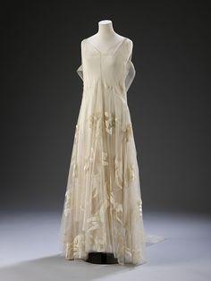 Art Deco Evening Dress (organza, tulle, silk velvet), 1935, France