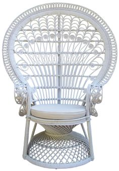 Rattan peacock chair white color