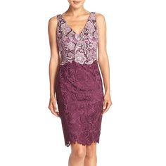 Petite Women's Adrianna Papell Colorblock Floral Lace Sheath Dress ($199) ❤ liked on Polyvore featuring dresses, petite, purple lace dress, purple shift dress, lace dress, purple floral dress and shift dress