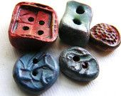 5 Artisan Buttons  handmade red blue vintage imprint shabby chic