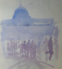 Kristan Baggaley. October 19th 2014. 4 Min Watercolour Sketch of St  Peters, in Rome.