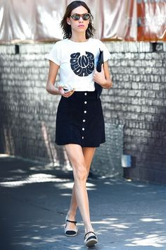Style Notes: With her Alexa Chung for AG Kety Skirt(£155/£93) nodding to the '60s, it's no wonder the icon paired it up with a vintage-style tee from The Deep End Club.