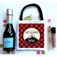 Mountain Favor Totes, Hangover recovery Bag. hipster Oh Shit kits! Buffalo Plaid bachelorette. colorado wedding, lumberjack party favor
