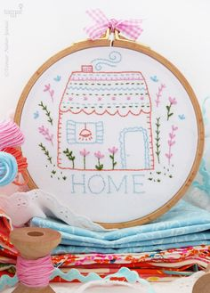 House embroidery, House warming gift, New home gift - Home Sweet Home - Embroidery Kit, Housewarming gift, Easy embroidery, Hand embroidery