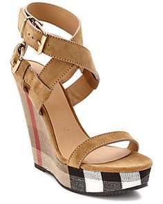 Burberry Goldfinch Suede Platform Wedge Sandal