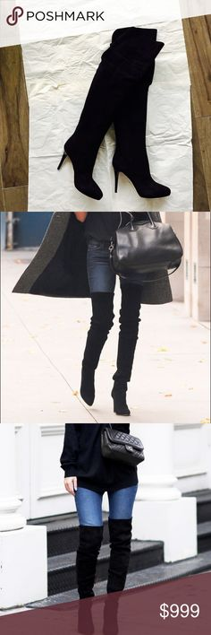 """Authentic Jimmy Choo Suede Over-the-knee Boots NEW with box+receipt+dust bag. Made in Italy. 4"""" heels. Jimmy Choo Shoes Over the Knee Boots"""