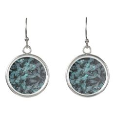 #black - #Green and White Ink on Black Background Earrings