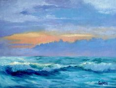 Sunrise on Surf 6x8 Seascape on Canvas Panel Daily by CarmensArt